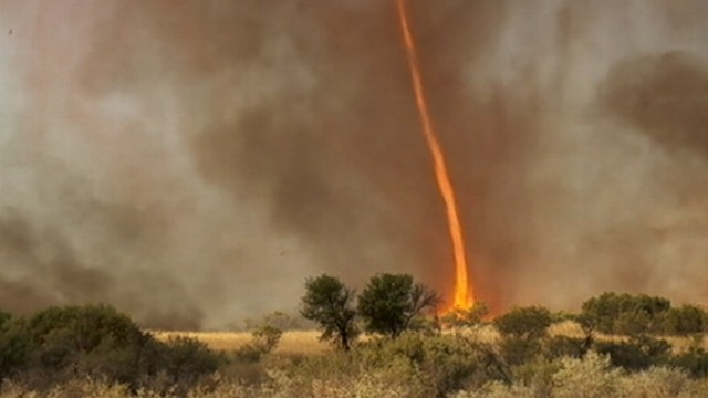 VIDEO: A rare phenomenon that looks like a burning tornado is seen in amazing video.