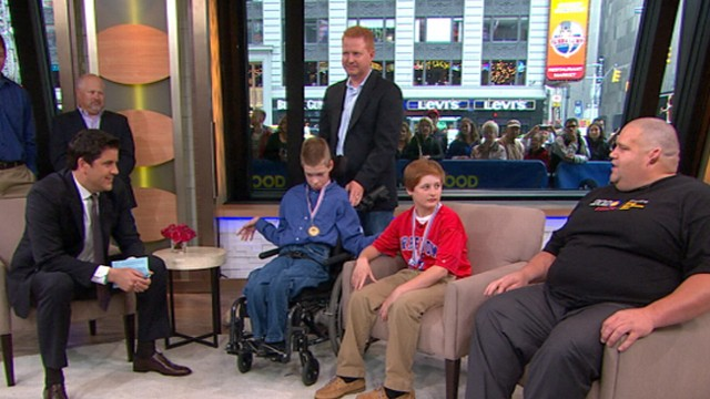"VIDEO: Gold medal wrestler Rulon Gardner surprise Jared Stevens and Justin Kievet on ""GMA."""