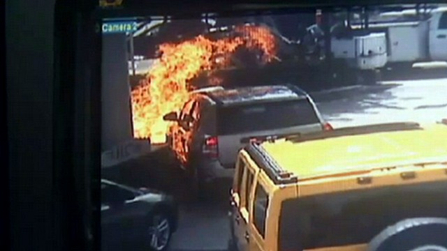 VIDEO: Large fire, explosion occurs after a driver loses control of her car.