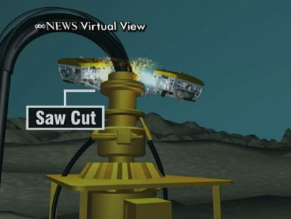 VIDEO: BPs latest tactic involves slicing off the broken pipeline and capping it.