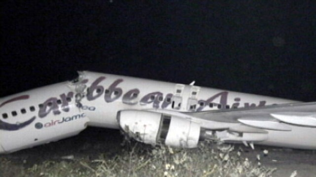 VIDEO: Passengers all walk away after a Caribbean Airlines jet skids off runway.