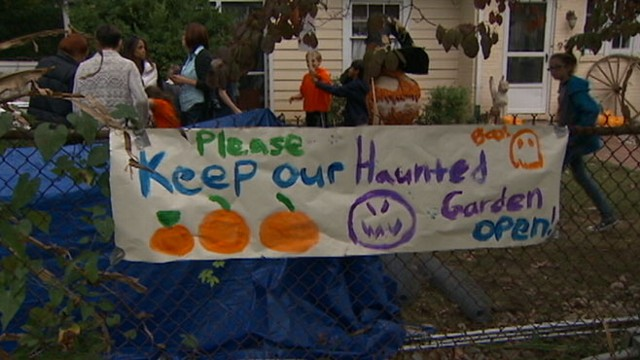 "VIDEO: Neighbors complaints resulted in move to shut down Donna Kerrs ""Haunted Garden."""