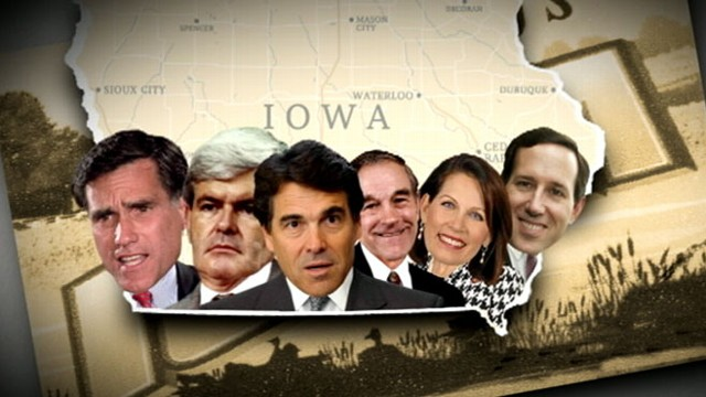 VIDEO: Mitt Romney, Ron Paul and Newt Gingrich battle for first place in GOP caucus.