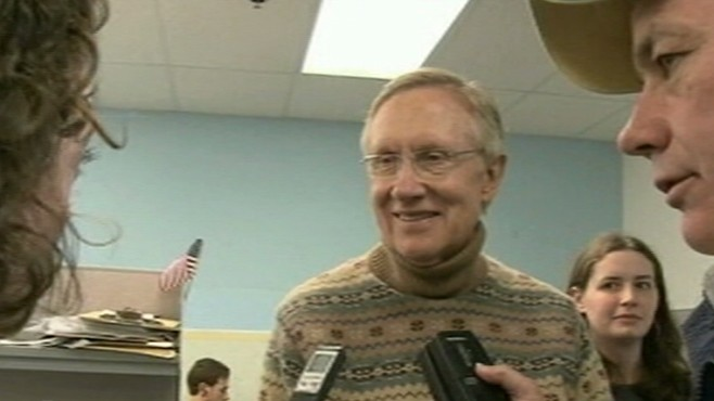 VIDEO: The majority leader is in danger of losing his Senate seat to Sharron Angle.