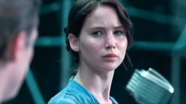 "VIDEO: Jennifer Lawrence plays ""Katniss,"" a young heroine fighting for her life."