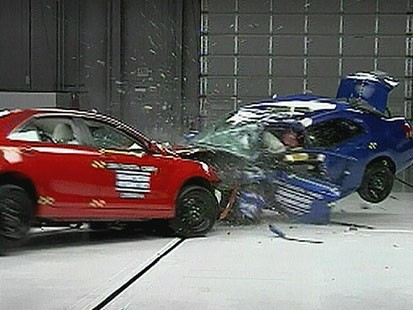 VIDEO: The Insurance Institute for Highway Safety pits small against mid-size cars.