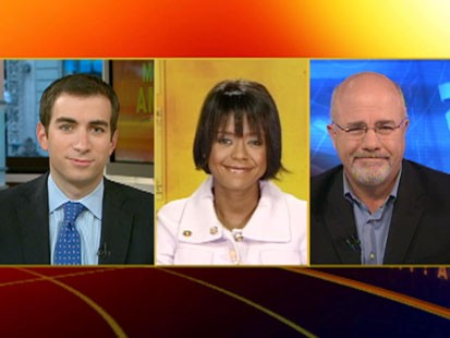 A picture of Andrew Ross Sorkin, Mellody Hobson and Dave Ramsey.