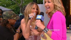 "VIDEO: Superstar singer makes most of a finicky dress during her ""Good Morning America"" concert."