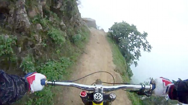 VIDEO: See Peruvian mountain bike rider Alejandro Pazs insanely fast ride on cliff.