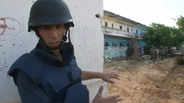 VIDEO: David Muir was trapped with a relief convoy in a skirmish on the front lines.