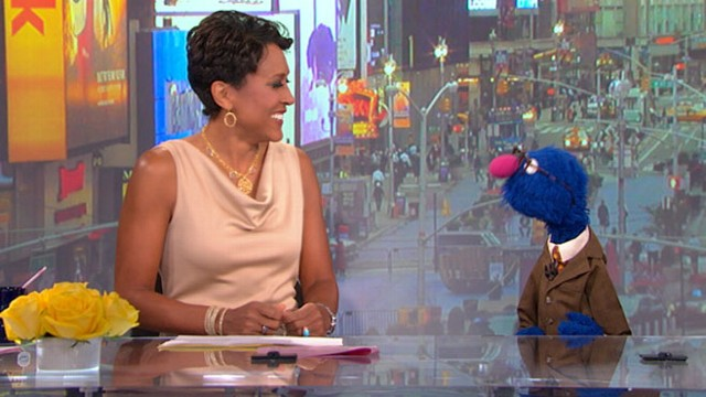"VIDEO: ""Sesame Street"" star pokes fun at ""GMA"" anchor George Stephanopoulos."