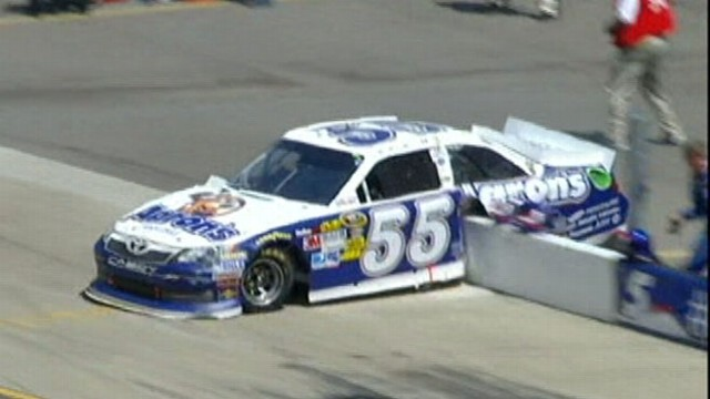 VIDEO: Mark Martin was unscathed after his car hit the pit wall at the Michigan Motor Speedway Sunday.