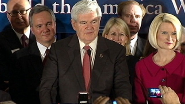 VIDEO: Former Speaker picks up surprise win over GOP rival Romney.