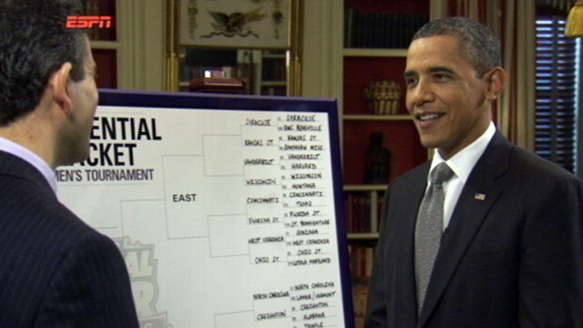 VIDEO: The president chooses Ohio St., Missouri, UNC and Kentucky to go to Final Four.