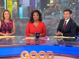 Watch: Oprah Arrives at 'GMA' With Curlers in Her Hair