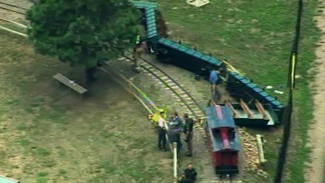 VIDEO: Tape shows South Carolina park train carrying children derailed, flipped over.
