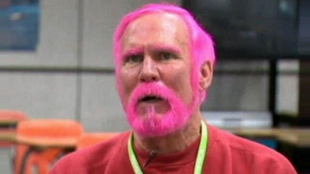 VIDEO: Teacher Dyes Hair Pink