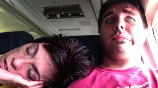VIDEO: Steve Cullum posted to YouTube the awkward moment when a fellow passenger fell asleep on him.