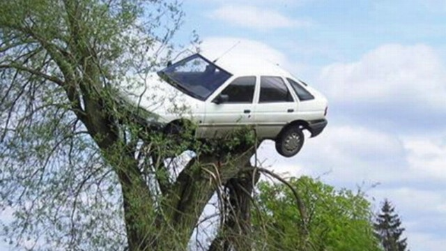 VIDEO: Villagers in Poland put a teens car in a tree to teach him a lesson.