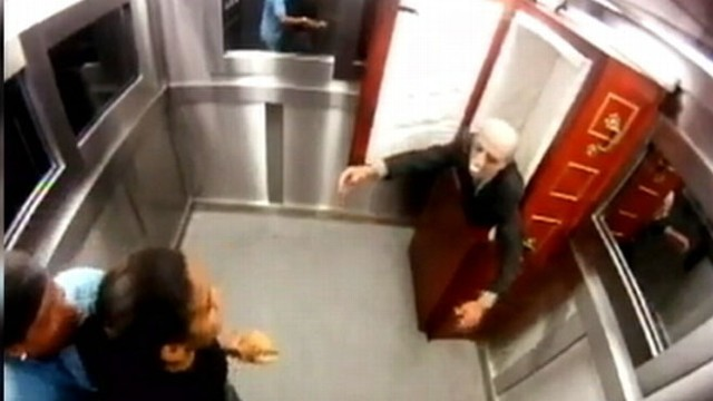 VIDEO: New victims of viral prank are horrified after a coffin suddenly appears in their elevator.