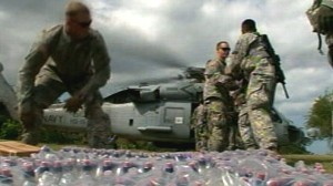 VIDEO: A massive military effort is under way to deliver aid to victims.