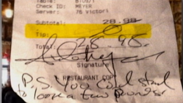 VIDEO: A Seattle waitress posts a receipt from a rude customer on her Facebook.