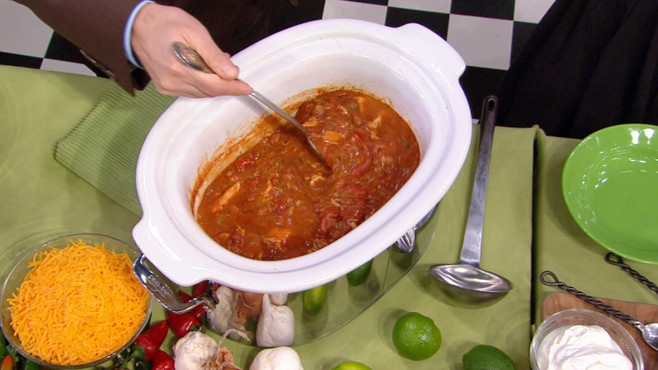 VIDEO: The queen of the slow-cooker cooks three versions of her mouthwatering chili.