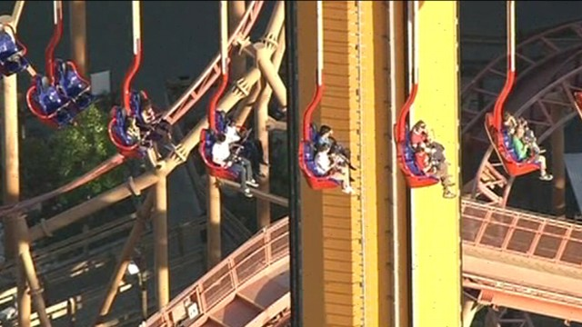 VIDEO: California amusement park goers were stuck 300-feet in the air for nearly 4 hours.