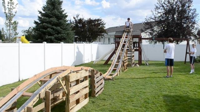 boys build 50 foot long backyard roller coaster for 50 abc news