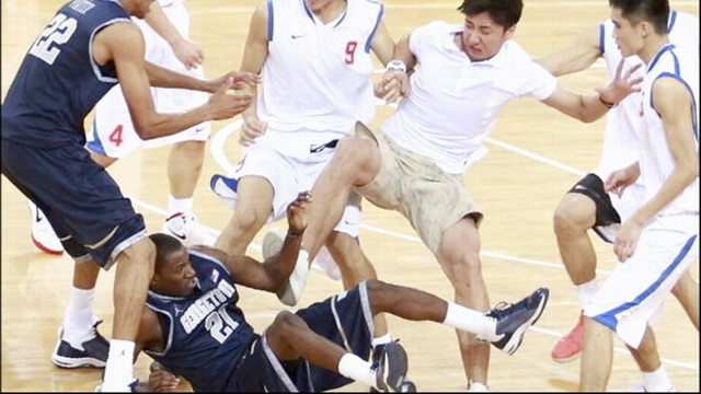 VIDEO: A fight broke out in China between Georgetown's Men's team and the Chinese team.