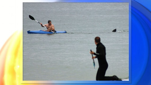 VIDEO: Onlookers watched as the terrified kayaker paddled for his life.