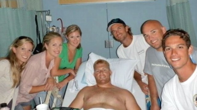 VIDEO: When a 9-foot-long bull shark attacked, one mans friends became heroes.