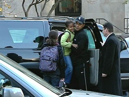 VIDEO: Barack Obama taking his daughters of his car.