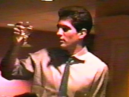 VIDEO: Home video shows JFK Jr. at a friends wedding rehearsal dinner.