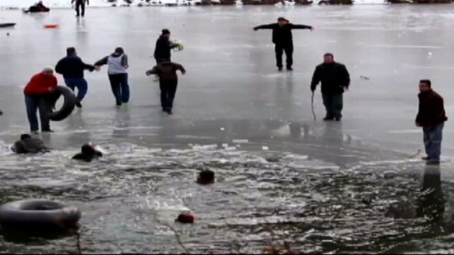 VIDEO: Ron Claiborne has the latest on those saved after ice breaks on pond.
