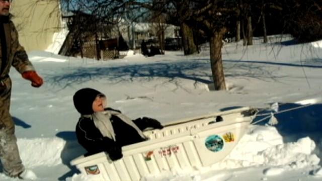 VIDEO: Recent Northeast blizzard prompted Lauri Woods husband to arrange alternate transportation.