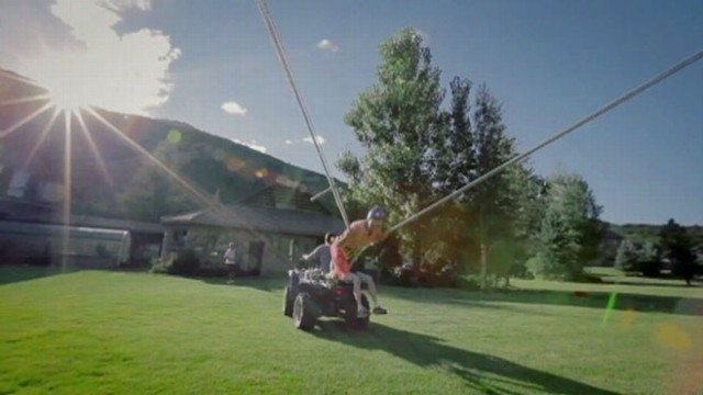 VIDEO: Utah friends fly through the air using bungee cords and a four-wheeler.