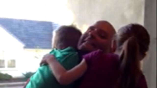 VIDEO: Staff Sergeant Joshua Durrer surprised his kids by popping out of present delivered by Santa.