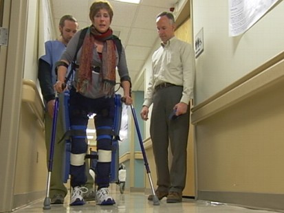 VIDEO: Ground-breaking robotic legs help paraplegics walk again.