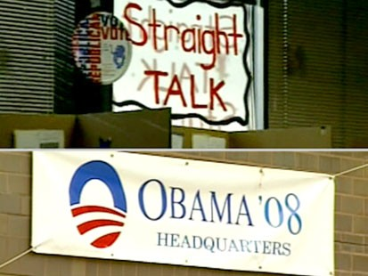 A split screen picture of a sign supporting McCain and a sign supporting Obama.