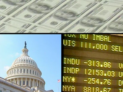 A picture of money, the capitol and a stock ticker.