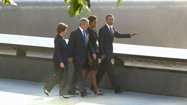 VIDEO: Americans see the two post-9/11 presidents together at the WTC for first time.