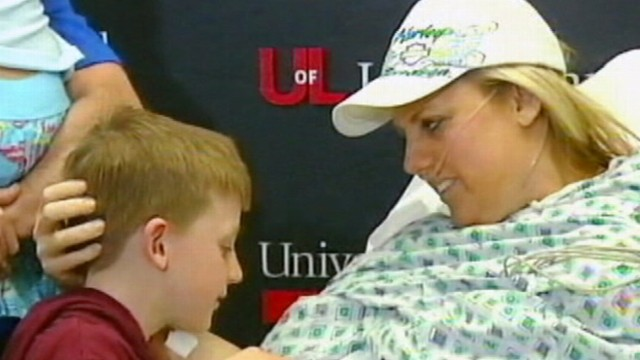 VIDEO: Mother remains positive after losing legs protecting children from debris.