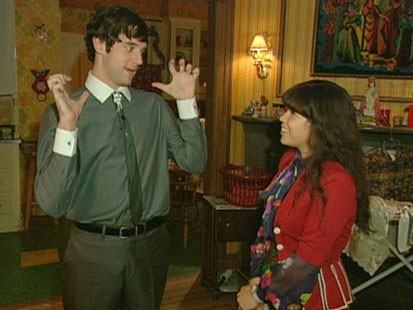 A picture of Michael Urie and America Ferrara on the set of Ugly Betty.