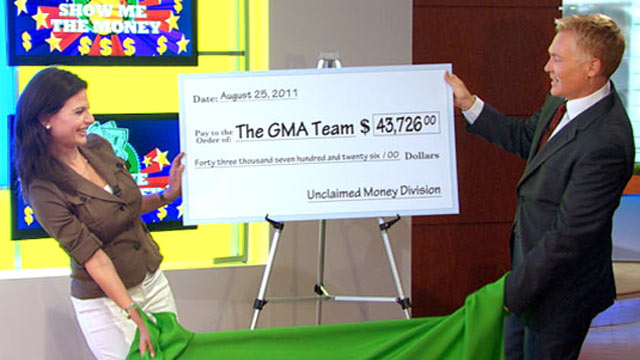 "PHOTO: Bianna Golodryga and Sam Champion reveal results of ""Good Morning Americas"" unclaimed money search."