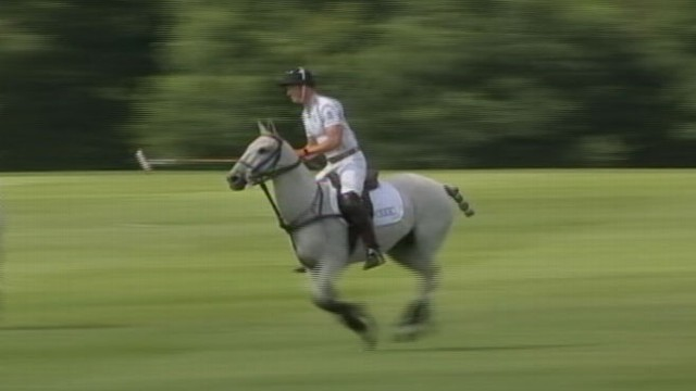 VIDEO: The prince enjoyed a charity polo match with Prince Harry before finishing his paternity leave.