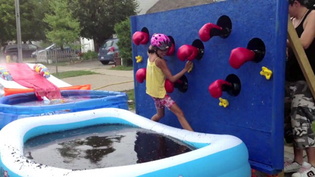 VIDEO: Dad Builds Wipeout Obstacle Course for Kids