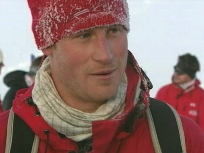 VIDEO: Britains Prince Harry treks to the North Pole before his brothers wedding.