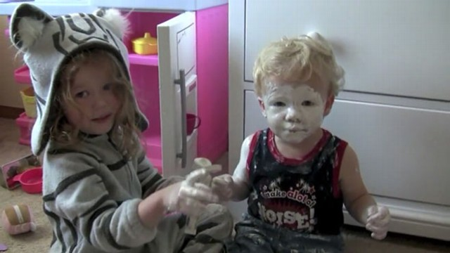 VIDEO: Little Girl Covers Brother in Diaper Rash Cream