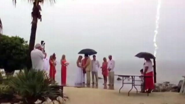 VIDEO: Lightning Strike Bolts Beach Wedding